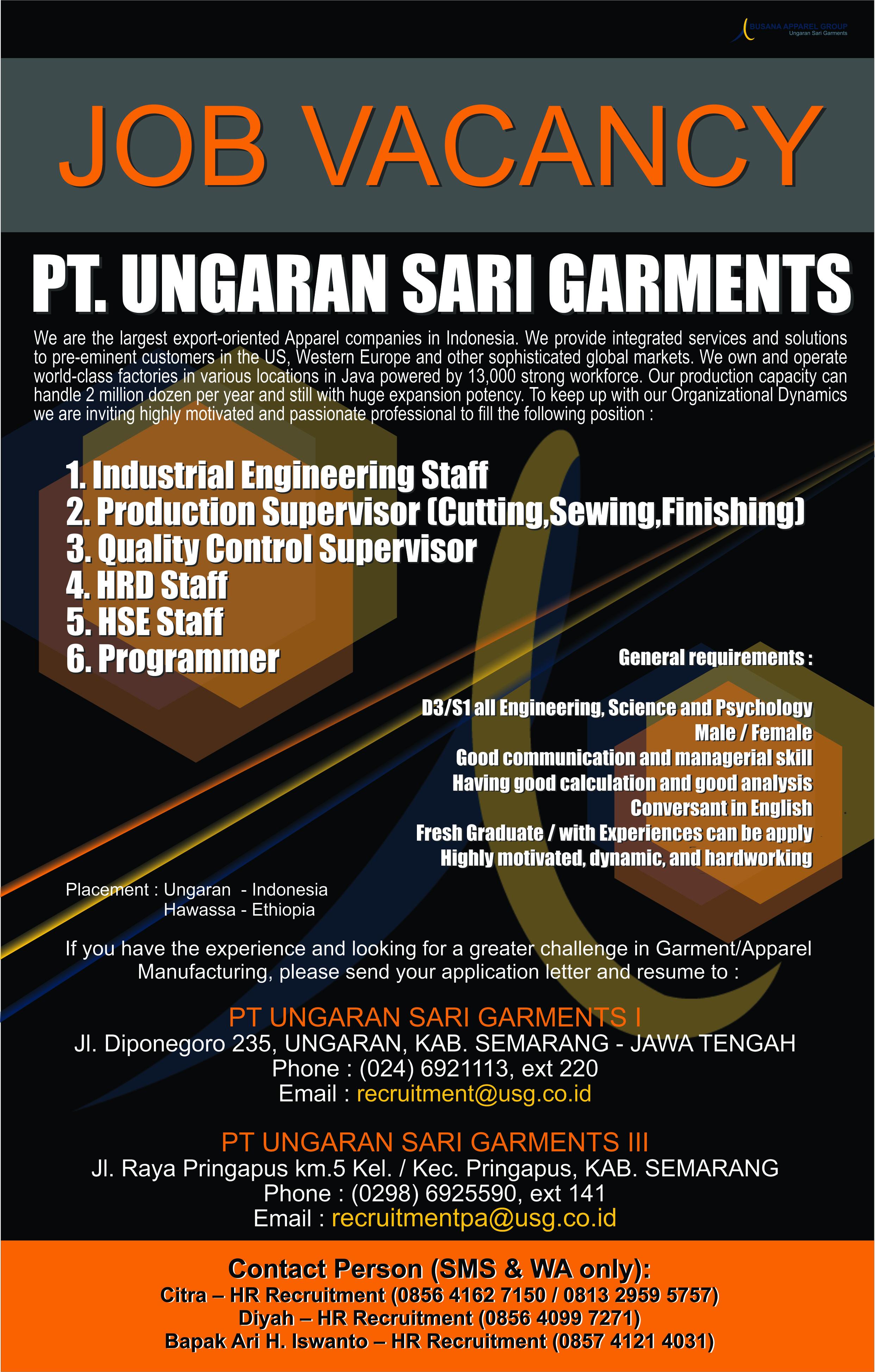Lowongan PT. UNGARAN SARI GARMENTS I